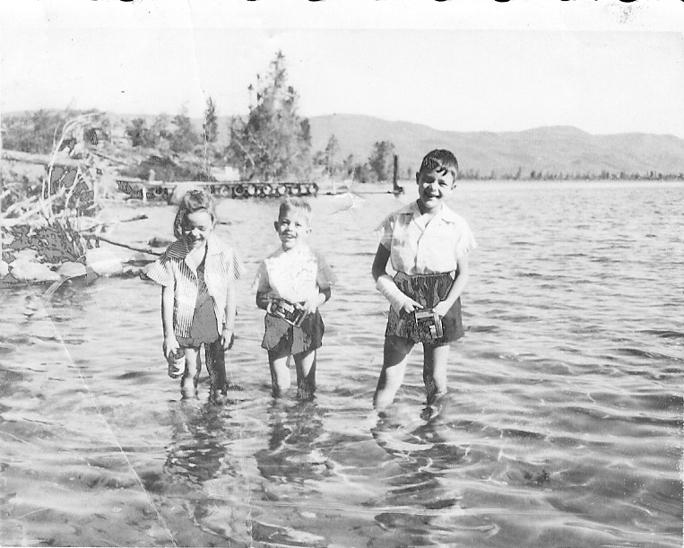 black and white of kids playing in water